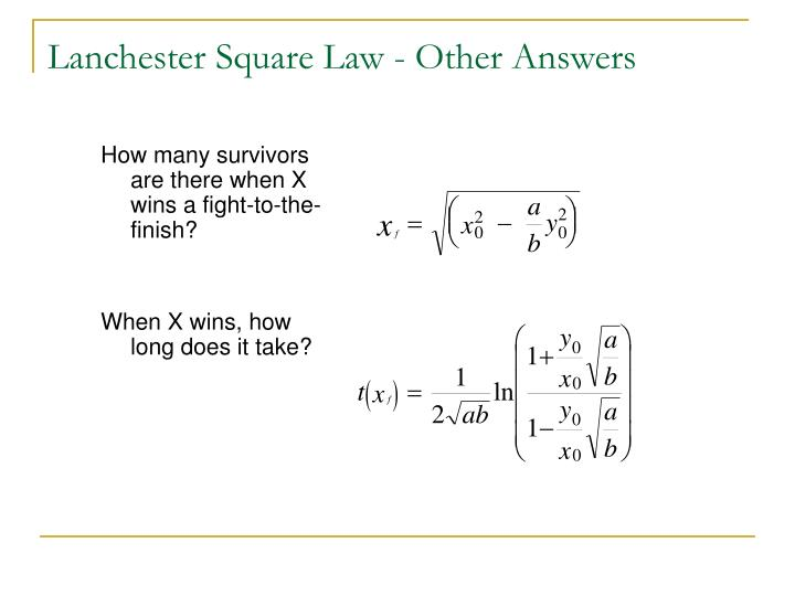 Lanchester Square Law - Other Answers
