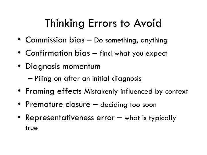 Thinking Errors to Avoid