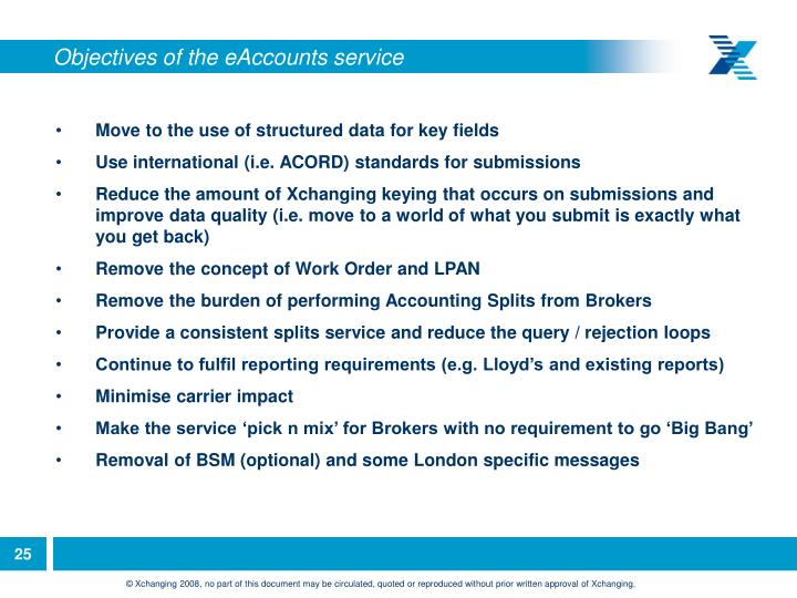 Objectives of the eAccounts service