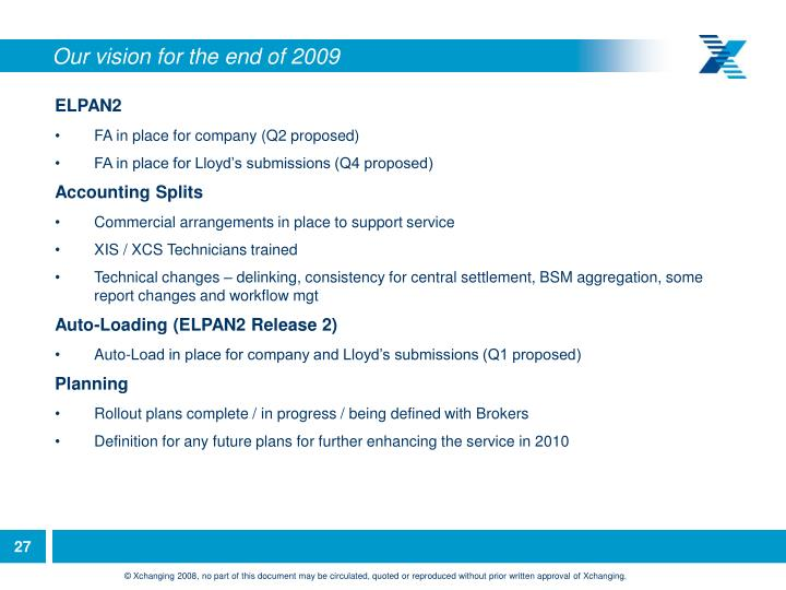 Our vision for the end of 2009