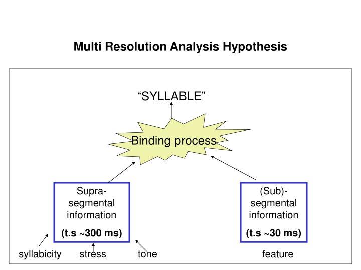 Multi Resolution Analysis Hypothesis