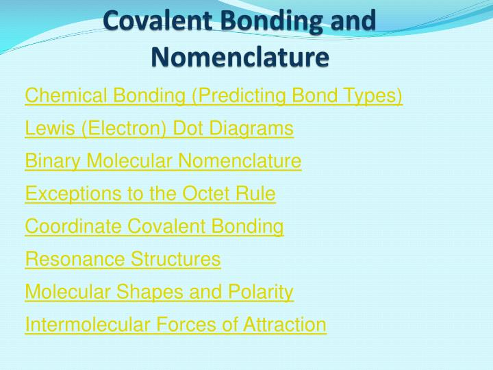 covalent bonding and nomenclature n.