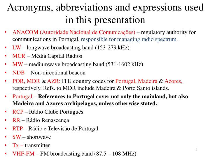 Acronyms abbreviations and expressions used in this presentation