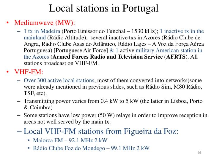 Local stations in Portugal
