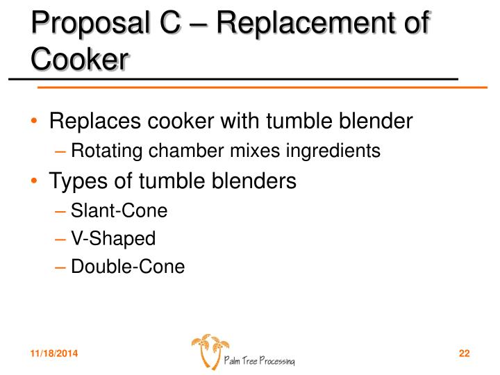 Proposal C – Replacement of Cooker