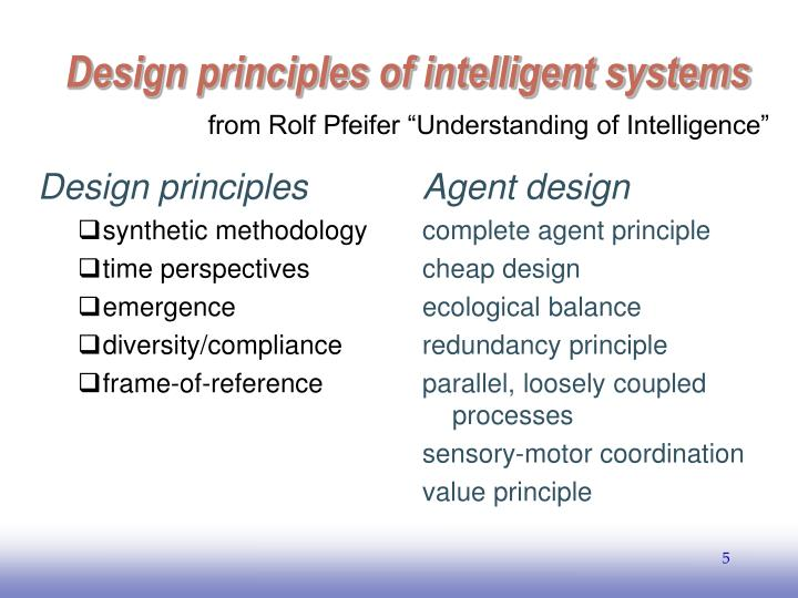 Design principles of intelligent systems