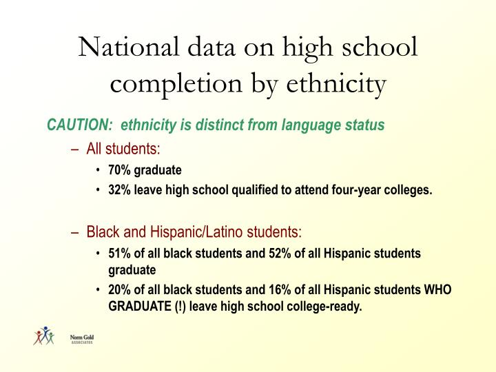National data on high school completion by ethnicity