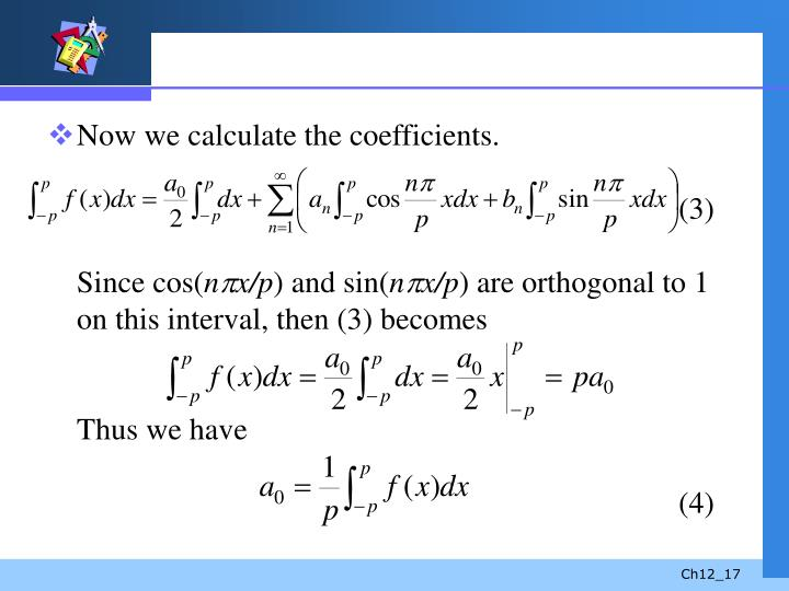 Now we calculate the coefficients.