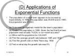 d applications of exponential functions