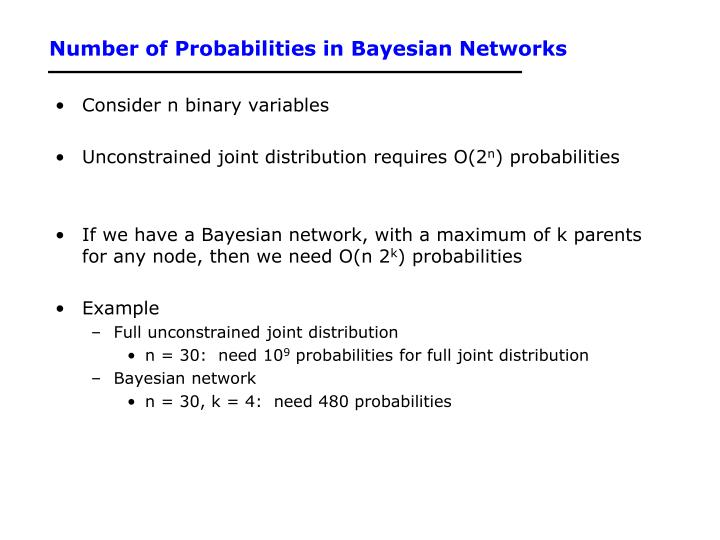 Number of Probabilities in Bayesian Networks