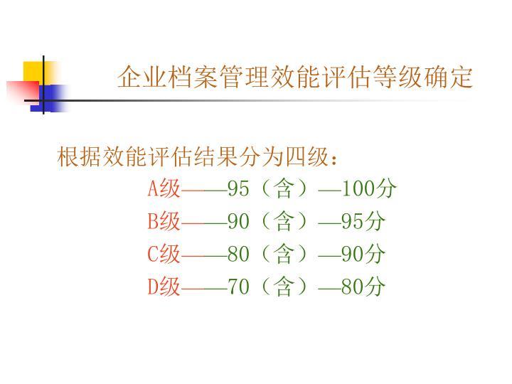 企业档案管理效能评估等级确定