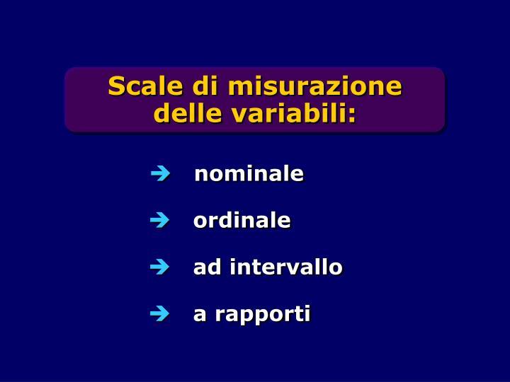 Scale di misurazione delle variabili: