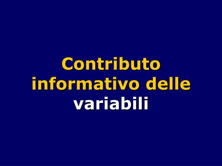 Contributo informativo delle