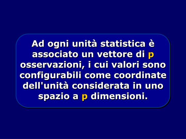 Ad ogni unità statistica è associato un vettore di