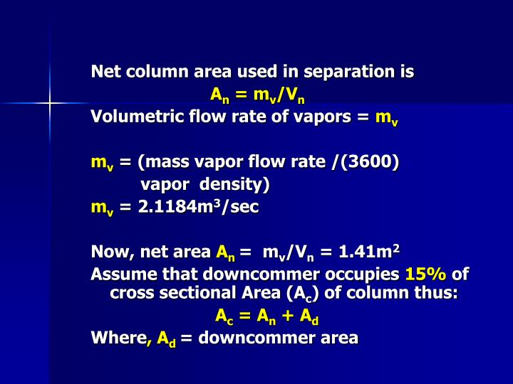 Net column area used in separation is