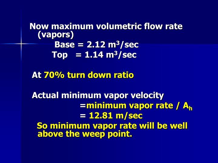 Now maximum volumetric flow rate (vapors)