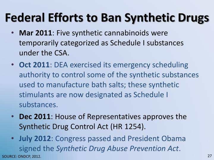 Federal Efforts to Ban Synthetic Drugs
