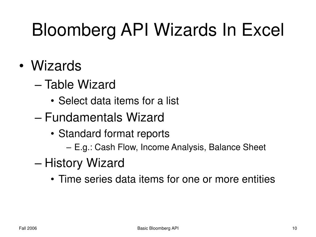 PPT - Basic Bloomberg API PowerPoint Presentation - ID:6782847