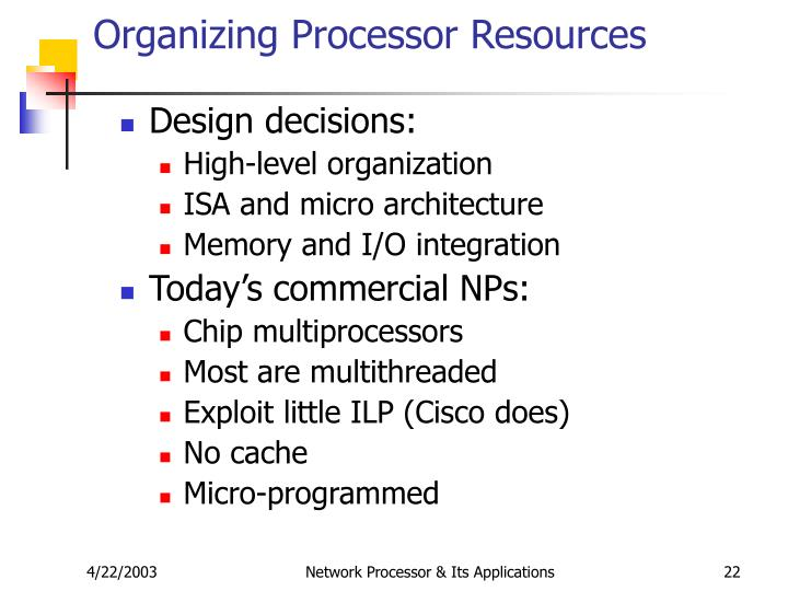 Organizing Processor Resources