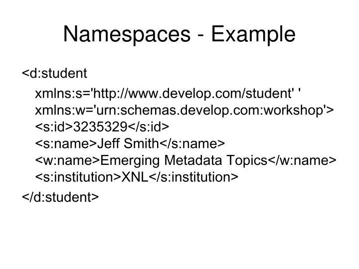 Namespaces - Example