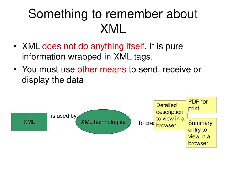 Something to remember about XML