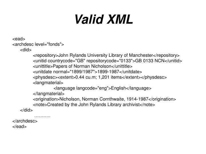 Valid XML