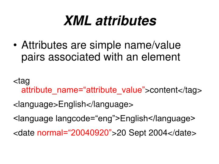 XML attributes