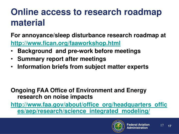 For annoyance/sleep disturbance research roadmap at