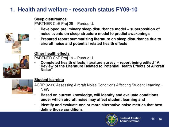 1.  Health and welfare - research status FY09-10