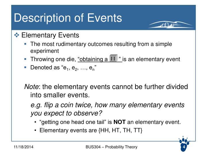Description of Events