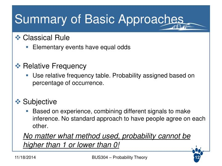 Summary of Basic Approaches