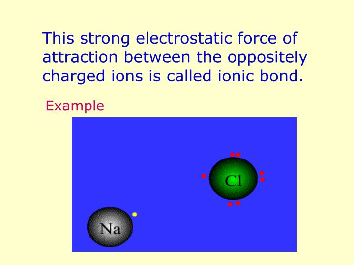 This strong electrostatic force of attraction between the oppositely charged ions is called ionic bond.