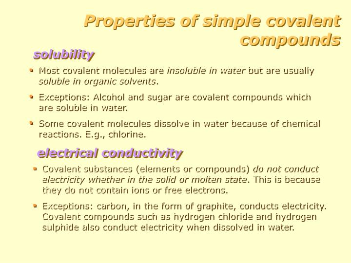 Properties of simple covalent compounds