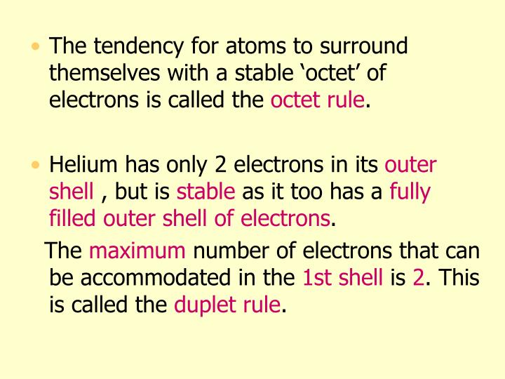 The tendency for atoms to surround themselves with a stable 'octet' of electrons is called the