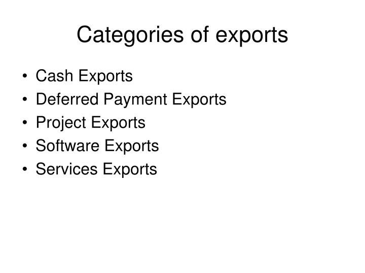 Categories of exports