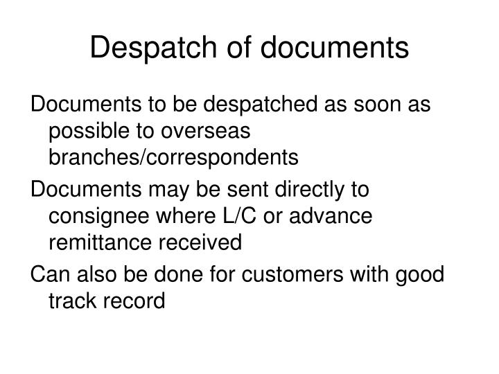 Despatch of documents