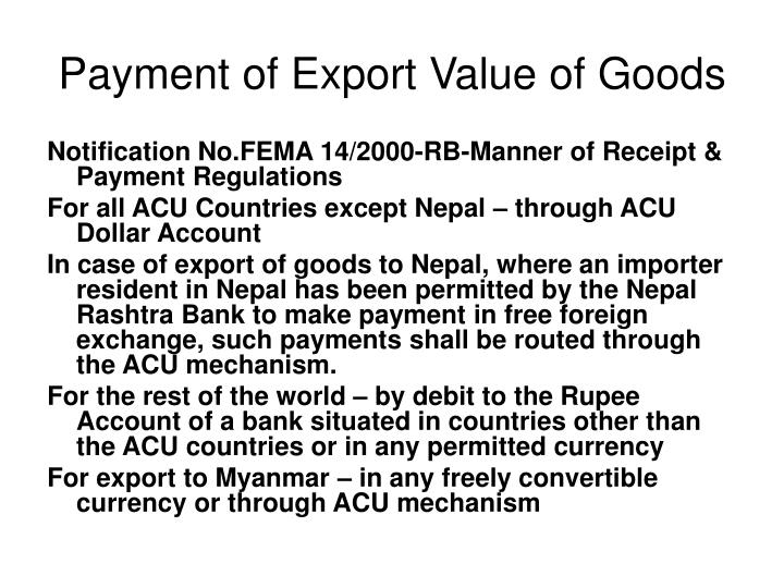 Payment of Export Value of Goods