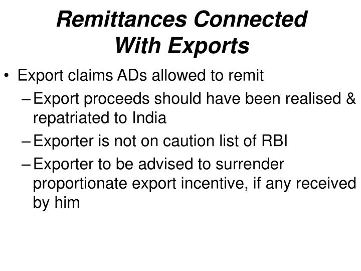 Remittances Connected With Exports