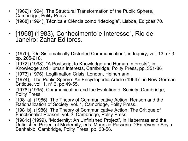 [1962] (1994), The Structural Transformation of the Public Sphere, Cambridge, Polity Press.