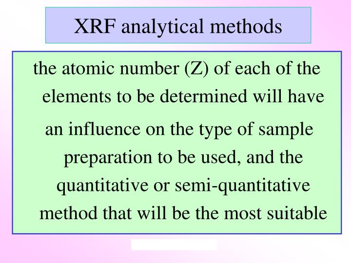 XRF analytical methods