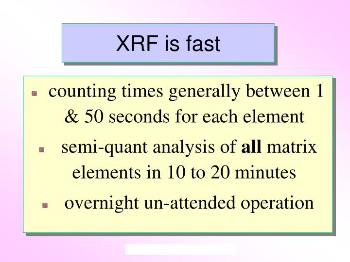 XRF is fast