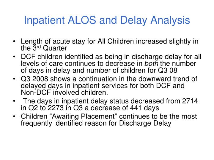 Inpatient ALOS and Delay Analysis