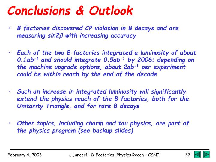 Conclusions & Outlook
