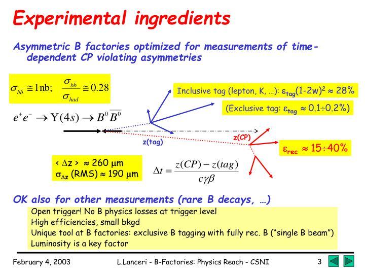 Experimental ingredients