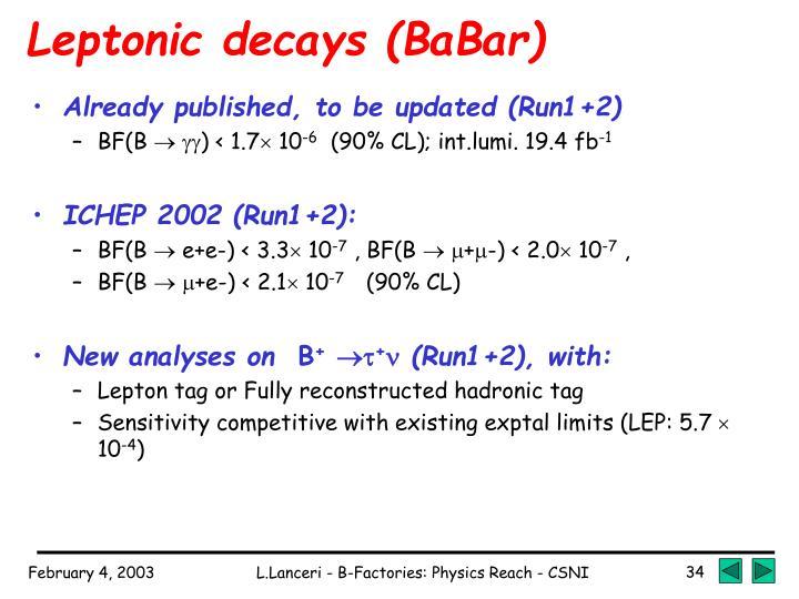 Leptonic decays (BaBar)