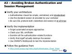 a3 avoiding broken authentication and session management
