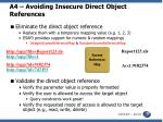a4 avoiding insecure direct object references