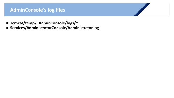AdminConsole's log files
