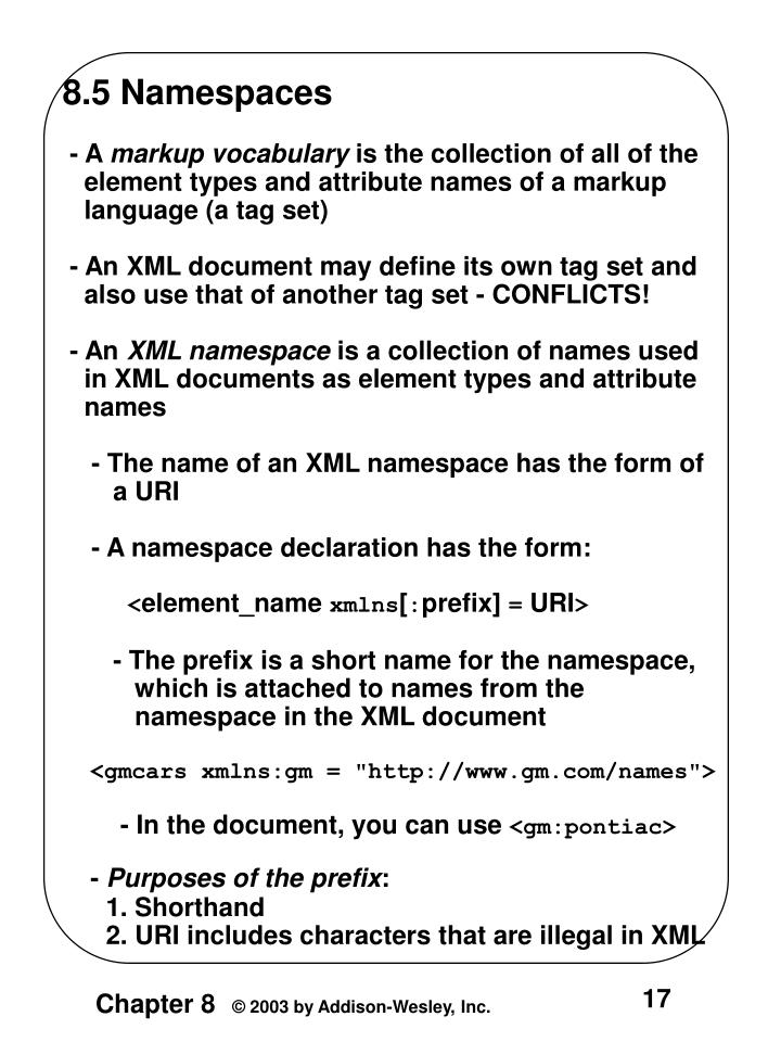 8.5 Namespaces
