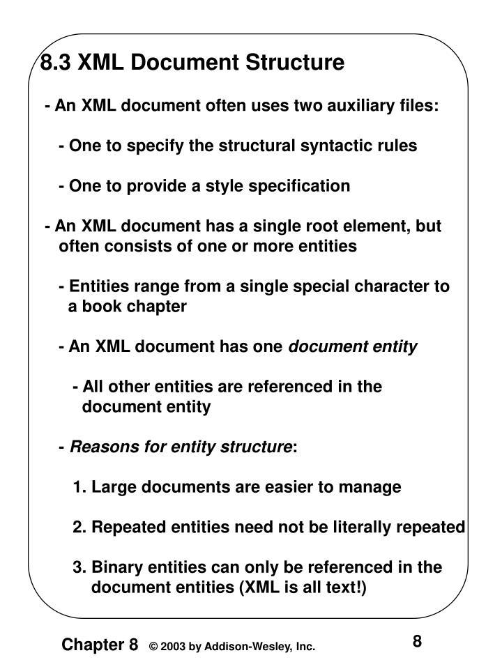 8.3 XML Document Structure
